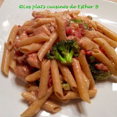 Les plats cuisinés de Esther B: Pâtes au poulet, bacon et brocoli