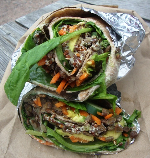 Green Pirate Juice Truck lentil quinoa wrap w/lime cashew caesar dressing (copied it was yummy!)
