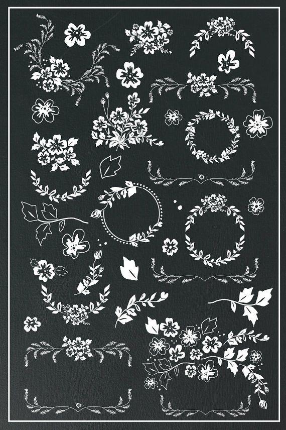 Hand Drawn Laurels and Wreaths Digital Flowers by Kelly Jane Creative…
