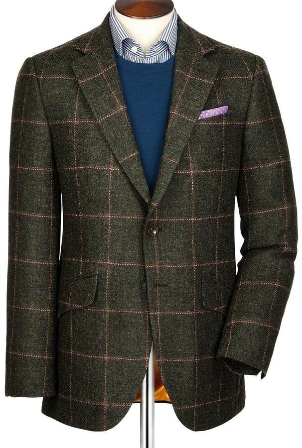 Green windowpane Pennine tweed Classic fit jacket