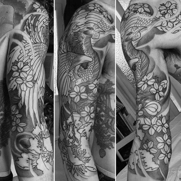Shaded Black And Grey Floral Japanese Phoenix Half Sleeve Tattoo Designs For Men Tattoo Sleeve Designs Half Sleeve Tattoo Sleeve Tattoos