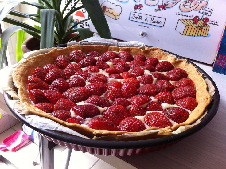 """Tarte aux fraises (recette marmiton """"the tarte aux fraises"""")"""