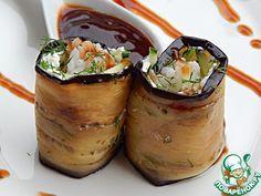 """Баклажаны """"Японика+"""" (рис, баклажан, огурец, чеснок, укроп, мягкий сыр, растит. или оливк. масло, кетчуп+соев.соус для соуса)"""