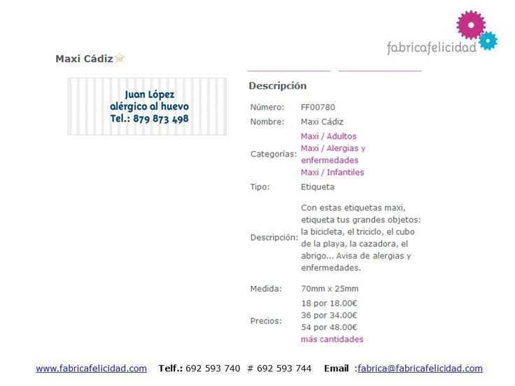 www.fabricafelicidad.com Etiquetas Maxi personalizadas
