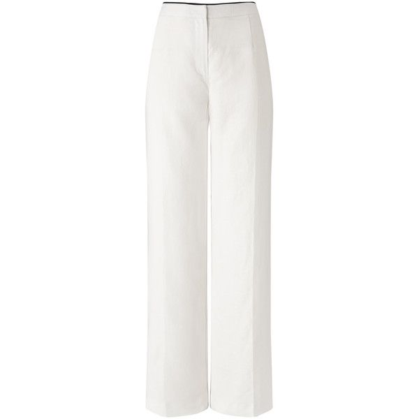 LINEN TROUSER (69 PLN) ❤ liked on Polyvore featuring pants, white linen trousers, white pants, white trousers, linen trousers and linen pants