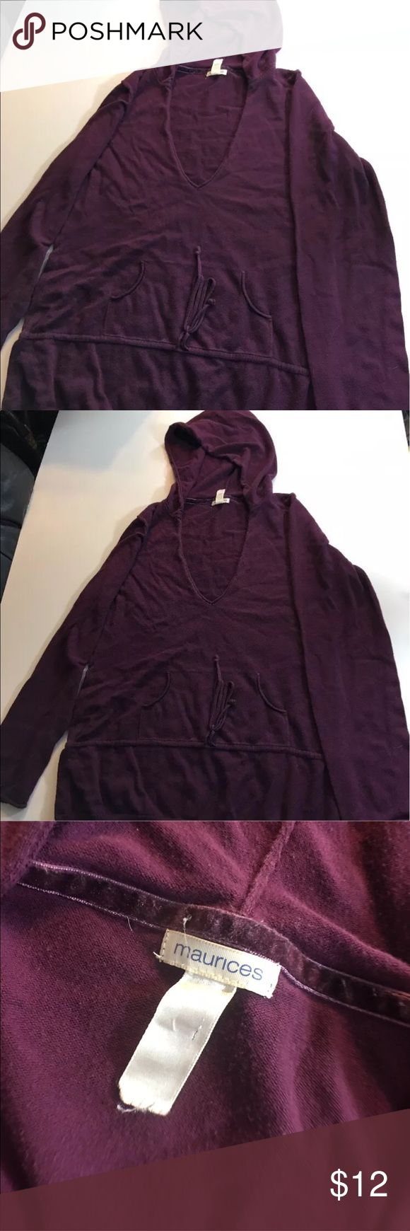 "MAURICES S XL Hooded Lightweight Purple Women's MAURICES Size XL Hooded Lightweight Sweater Dark Purple Women's  22 1/2"" arm pit to arm pit 27"" Length Maurices Tops Sweatshirts & Hoodies"