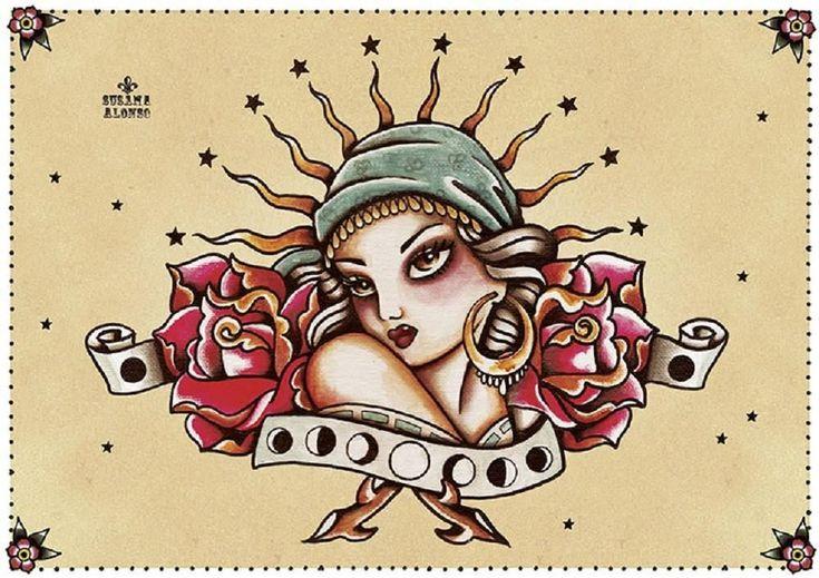 Moon Child by Susana Alonso Gypsy Tattoo Design Canvas Fine Art Print