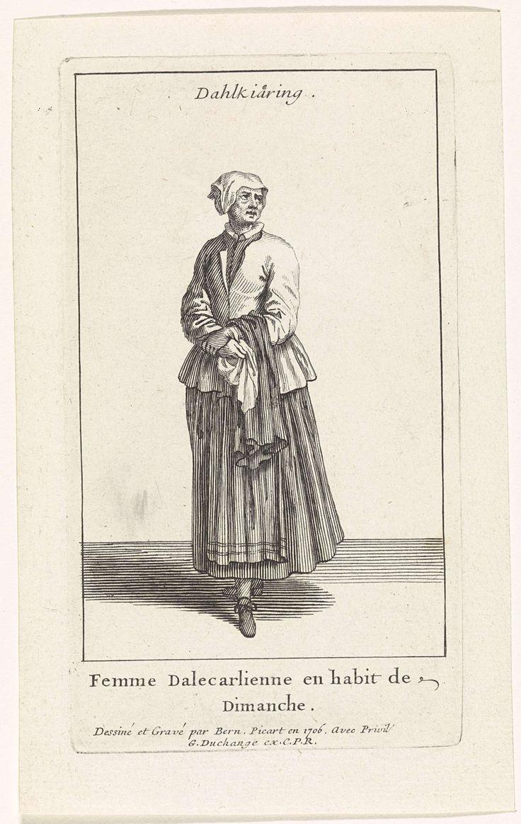Bernard Picart | Zweedse vrouw gekleed op haar zondags, Bernard Picart, Gaspard Duchange, Lodewijk XIV (koning van Frankrijk), 1706 | Figuur in eigentijds kostuum. De prent heeft een titel in het Zweeds en een onderschrift in het Frans.