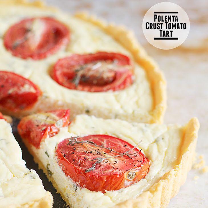 Polenta Crust Tomato Tart Recipe with roma tomatoes, thyme, cracked ...