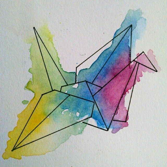 Watercolor origami | Tattoos I Love | Pinterest | Origami ...