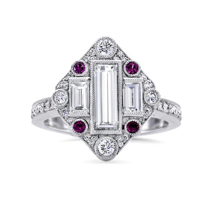 Fairfax & Roberts rubí y anillo de compromiso de diamantes