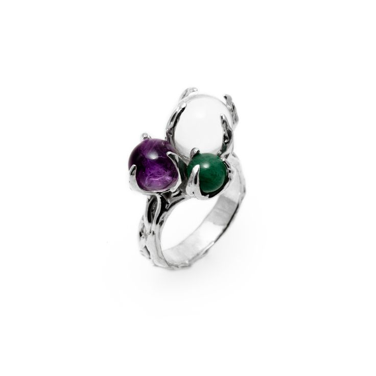 SPHERE RING SPUTNIK WITH CLEAR QUARTZ, AMETHYST AND AVENTURINE #pulse_jewellery  #sterling #silver #925 #jewellery #jewelry #ring #rings #fluid #liquid #sphere #gemstone #clear #quartz #aventurine #amethyst