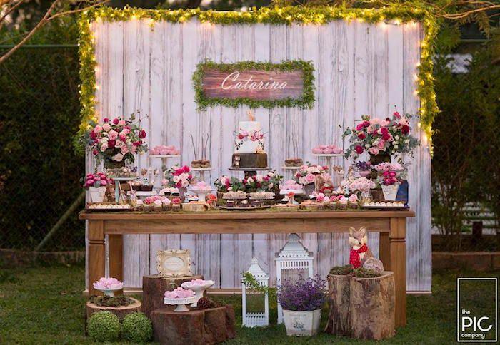 Light-lit dessert spread from a Woodland Animal Birthday Party on Kara's Party Ideas | KarasPartyIdeas.com (25)