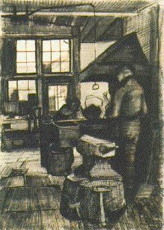 Vincent van Gogh: Blacksmith Shop, The Hague: April, 1882 (Otterlo, Kröller-Müller Museum)