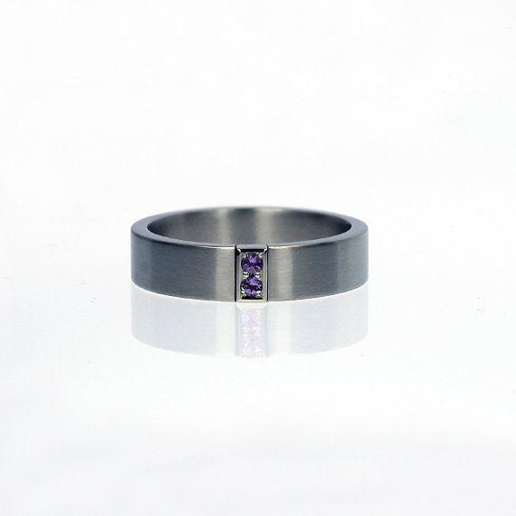 Hochzeit, Ring, Palladium Eheringe, moderne Verlobungsring, Ehering für Männer, Männer Palladium Band, Männer Amethyst Ring, Lila Amethyst