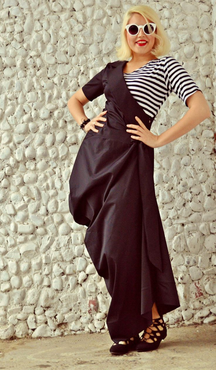 Shop Now: Black Extravagant Dress / Plus Size Asymmetrical Dress / Black Maxi Dress with Striped Top / Long Asymmetrical Dress TDK176 / SS 2016 is available in my shop ✨ https://www.etsy.com/listing/273516060/black-extravagant-dress-plus-size?utm_campaign=crowdfire&utm_content=crowdfire&utm_medium=social&utm_source=pinterest