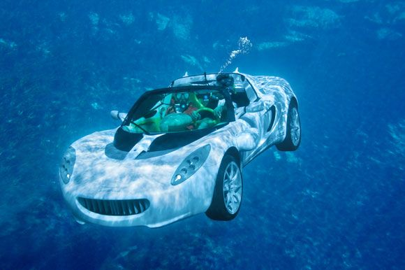 Rinspeed sQuba. A Swiss car that actually goes underwater, as appose to the surface of the water.