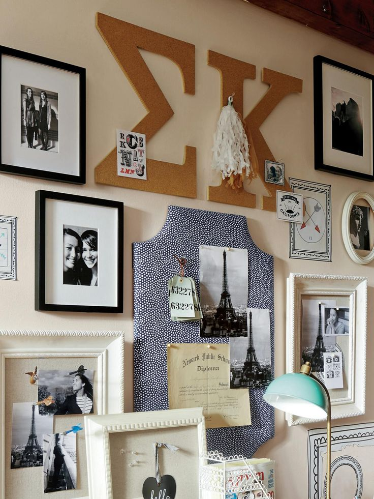 Display sorority letters, family photos and travel memories in a classy cute gallery wall! More Dorm Room Decorating Ideas & Decor Essentials >> http://www.hgtv.com/design/decorating/design-101/20-chic-and-functional-dorm-room-decorating-ideas-pictures?soc=pinterest