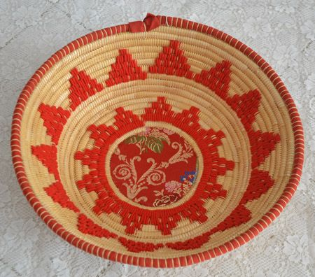 "Basket ""crobi manna"" in straw and rush, handmade in Sinnai (Cagliari)"