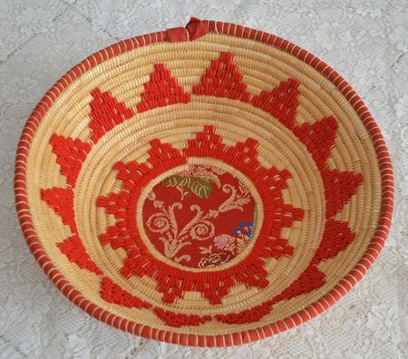 "Basket ""crobi manna"" in straw and rush, handmade in Sinnai (Cagliari)"