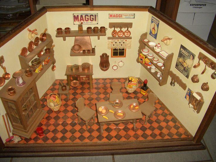 original maggi puppenstube puppenk che komplett best ckt. Black Bedroom Furniture Sets. Home Design Ideas