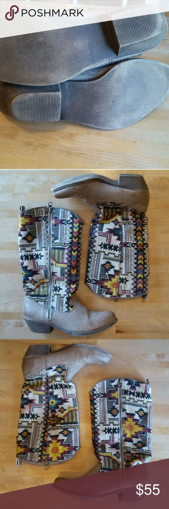 Aztec fabric cowboy boots More info on its way! Zipper on the outside. Traction looks decent. **No size tag but 90% sure these are a size 8, as that's my size and these fit me well. Big Buddha Shoes Heeled Boots