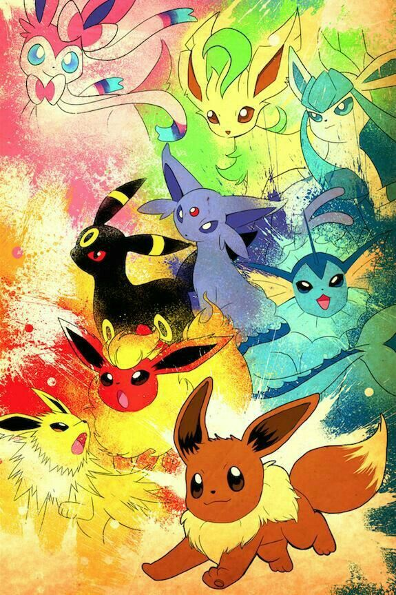 Eevee evolutions, Flareon, Jolteon, Glaceon, Leafeon, Umbreon, Espeon, Sylveon, Vaporeon; Pokémon