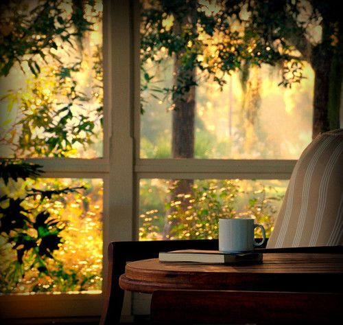 love this! Hot chocolate and books and sitting by the window.... I want lots of windows in our home someday