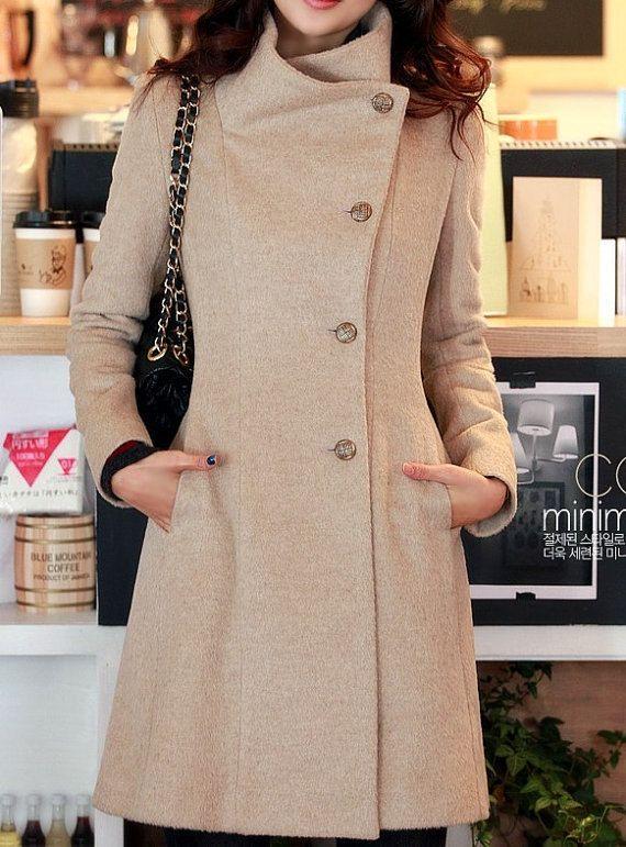 women's Fitted Wool autumn winter Pashm Coat jacket / dress Wool Jacket Women Coat beige dy38 S,M,L,XL