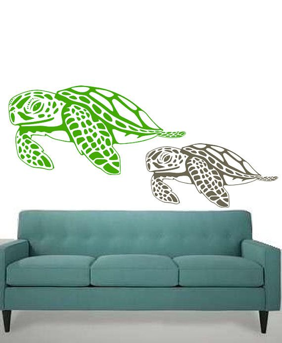 A Pair of Hawaiian Sea Turtles Cruisin  Vinyl wall by 3rdAveShore, $70.00