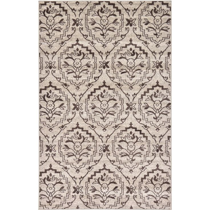 Unique Beige Polypropylene Damask Rug (5u00271 X 8u0027) (5u0027