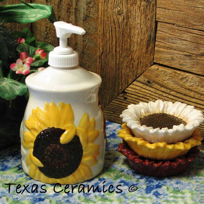 Country Sunflower Pump Dispenser Bottle For Liquid Soap