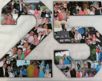 Professional Custom Photo Letter Collage - Two numbers in COLOR - Wedding Anniversary Gift, Birthday Photo Gift