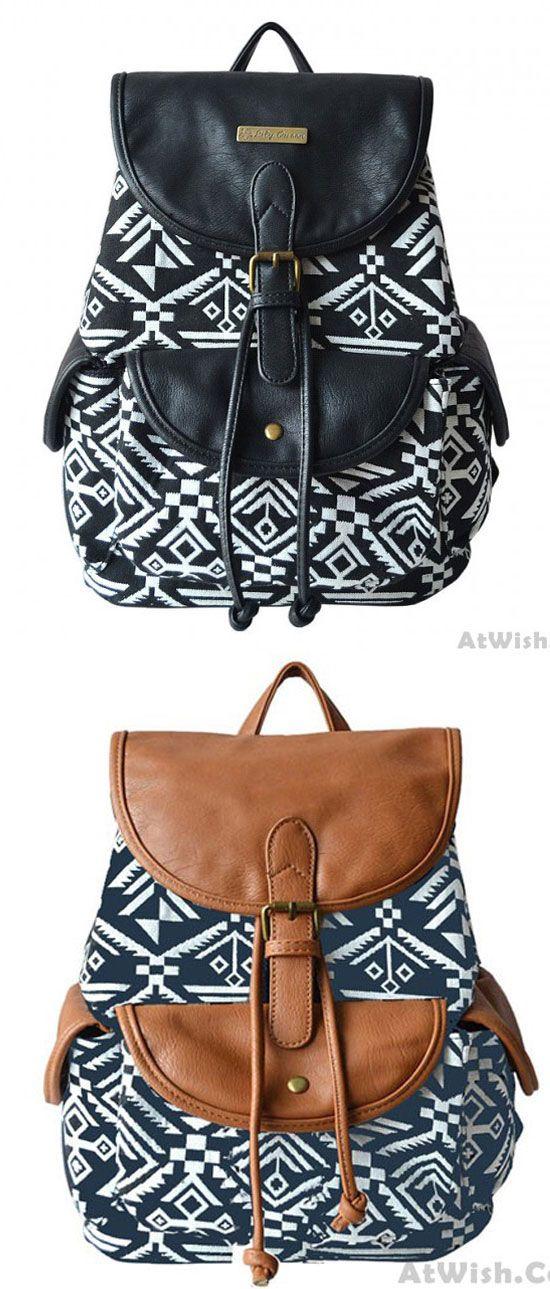 Folk Style Totem Geometry Backpack Student Book Bag for big sale! #folk #totem #geometry #cute #school #backpack #bag #college #student #women #travel #cartoon