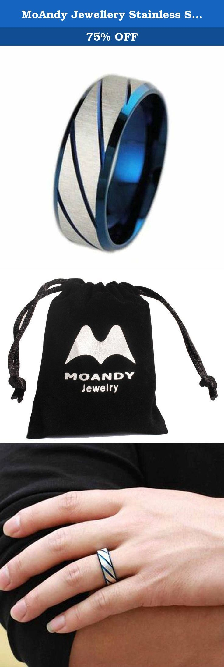 MoAndy Jewellery Stainless Steel Stripes Men's Band Rings,US Size 10. The Comfort Fit Design,High Quality Item Size:US Size 10 Type:Rings Condition:New Material:Stainless Steel Gender:Men Brand:MoAndy Accasion:Opening Gifts;Valentine's Day;Birthday;Graduation;Engagement Ship with a Free Gift Bag Color:Blue.