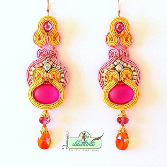 Soutache Earrings- Swarovski Crystal Statement Earrings- Dangle Long Earrings- OOAK Earrings