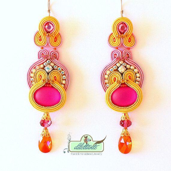 Soutache Earrings- Swarovski Crystal Statement Earrings- Dangle Long Earrings- OOAK Earrings