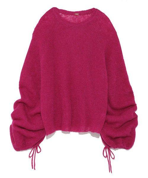 Mila Owen(ミラ オーウェン)の「パフスリーブモヘアニット(ニット/セーター)」|ピンク