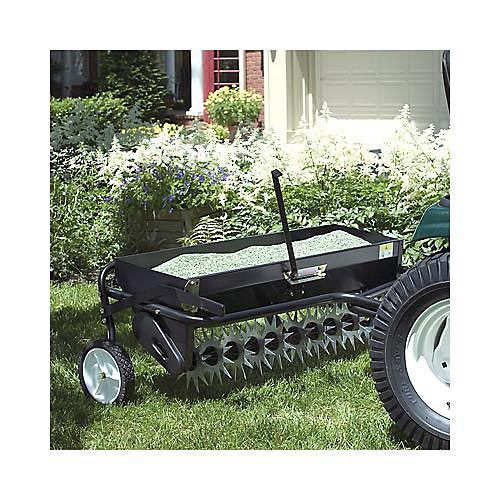 This combination aerator and spreader has a spinning tine rotor which can dig up to 2 inches and simultaneously puts your seed or fertilizer into the soil where it can't wash or blow away.