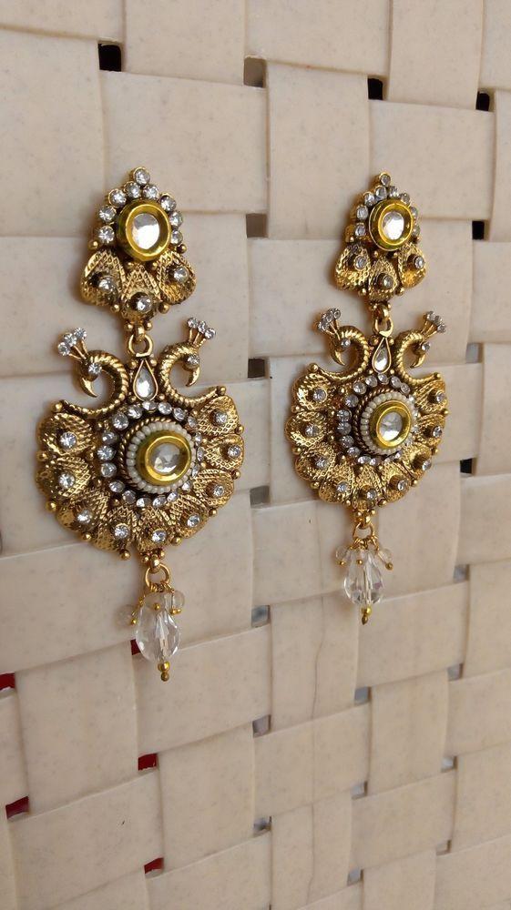 2019 New Style Traditional Ethnic Bollywood Kundan Polki Dangle Earrings Set Designer Jewellery Jewelry & Watches