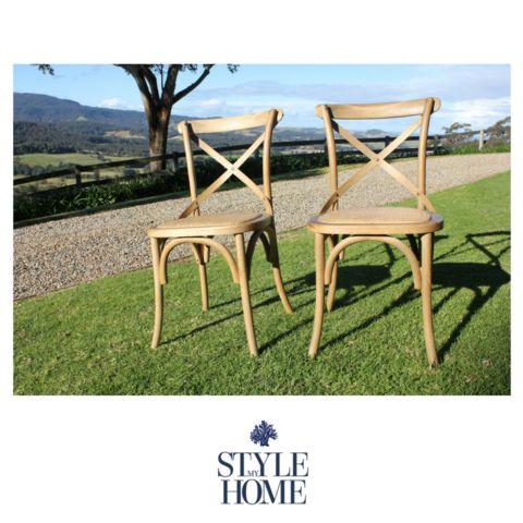 'DAVID' Weathered Oak Cross-back Chair with Rattan Seat