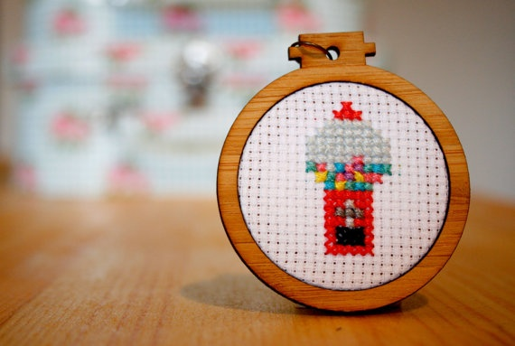 Gumball Cross Stitch Pendant in Mini Embroidery by WhistlingTeapot, $35.00
