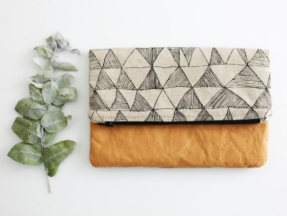 Fold over clutch with washable paper and sketchy triangle pattern - Medium size