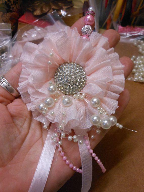 Shabby Chic Handmade Gathered Ruffle Flower :