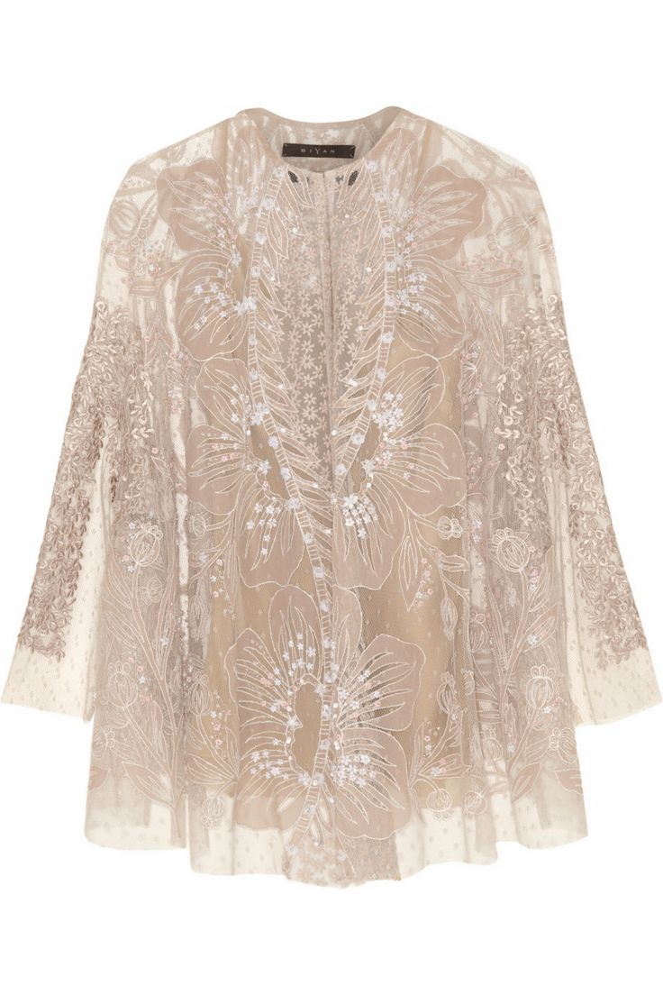 BIYAN Kalla embellished antique-rose tulle cape jacket $2,545