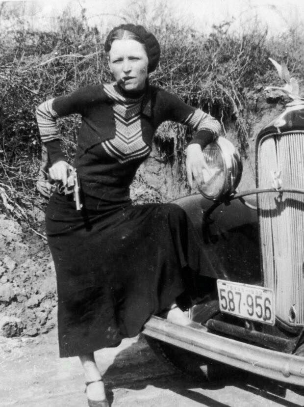 The Notorious Bank Robber Bonnie Parker photographed in 1933.
