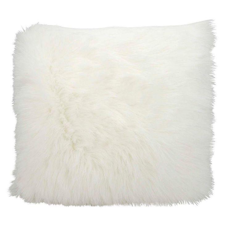 Mina Victory Faux Fur Throw Pillow, White