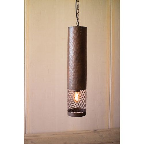 Metal Cylinder with Wire Mesh Detail Pendant Light
