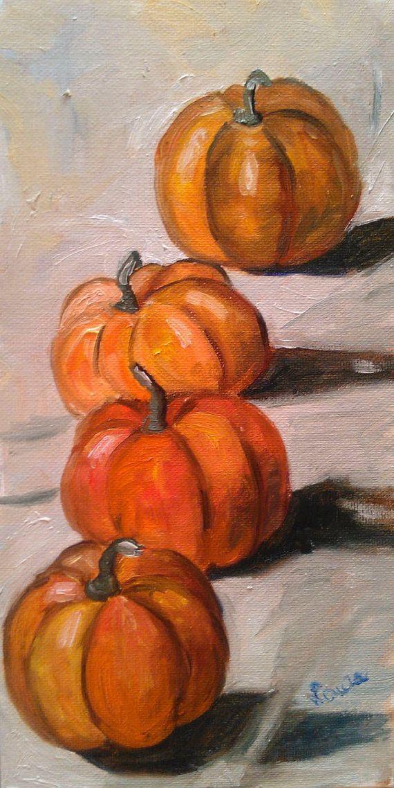 Pumpkins original oil painting on canvas by LAURADALLAGATA on Etsy