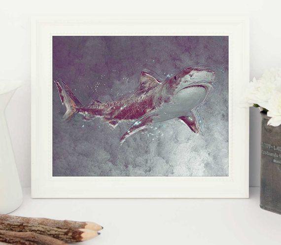 shark art shark print shark poster shark sharks by FunkyArtShop